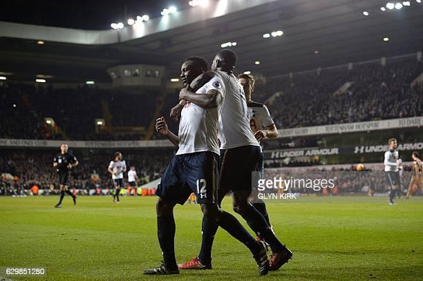 Tottenham Hotspur's Kenyan midfielder Victor Wanyama celebrates scoring his team's third goal with Tottenham Hotspur's French midfielder Moussa...