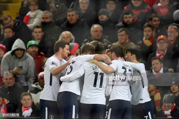 Tottenham Hotspur's Kenyan midfielder Victor Wanyama celebrates scoring his team's first goal with teammates during the English Premier League...