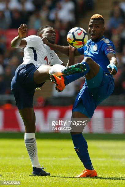 Tottenham Hotspur's Kenyan midfielder Victor Wanyama vies with Leicester City's Nigerian striker Kelechi Iheanacho during the English Premier League...