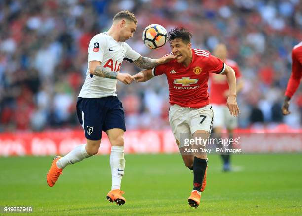 Tottenham Hotspur's Kieran Trippier and Manchester United's Alexis Sanchez battle for the ball during the Emirates FA Cup semifinal match at Wembley...
