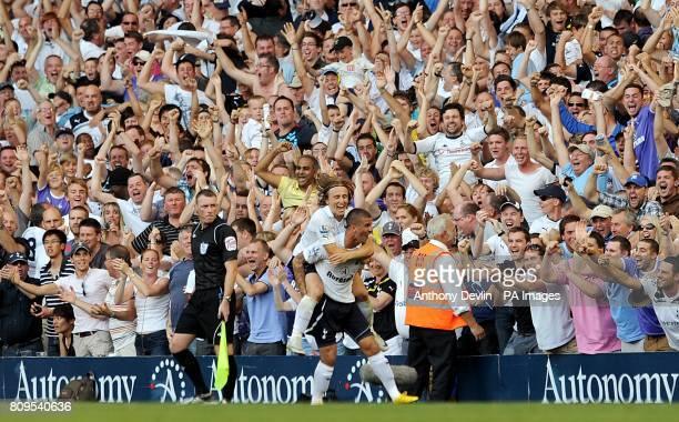 Tottenham Hotspur's Kyle Walker celebrates with team mate Luka Modric after scoring his side's winning goal