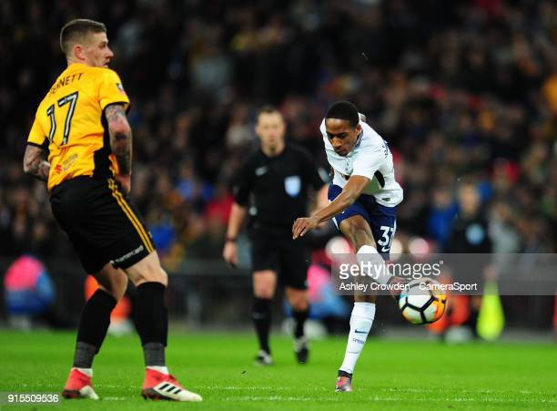Tottenham Hotspur's Kyle WalkerPeters has a shot at goal during the The Emirates FA Cup Fourth Round Replay match between Tottenham Hotspur and...