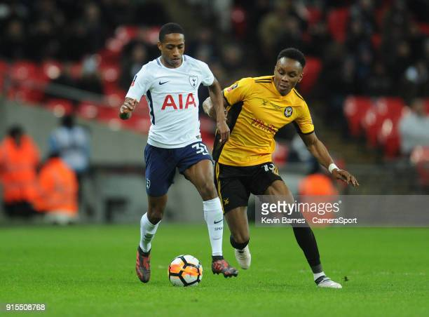 Tottenham Hotspur's Kyle WalkerPeters under pressure from Newport County's Shawn McCoulsky during the The Emirates FA Cup Fourth Round Replay match...