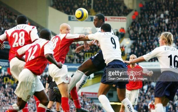 Tottenham Hotspur's Ledley King wins the header against Arsenal's Pascal Cygan during the Barclays Premiership match at White Hart Lane north London...