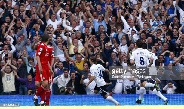 Tottenham Hotspur's Luka Modric celebrates scoring his side's first goal of the game in front of the fans