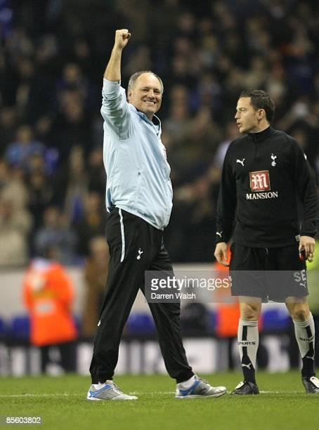 Tottenham Hotspurs' Martin Jol celebrates at the final whistle