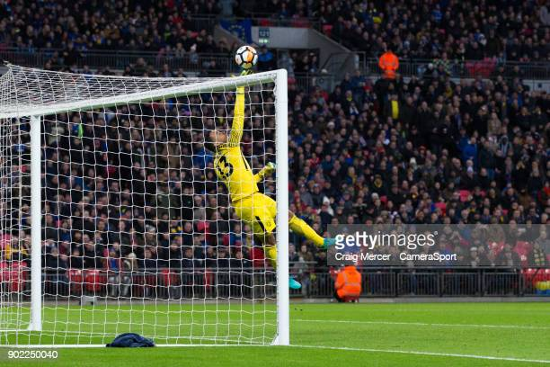 Tottenham Hotspur's Michel Vorm forced into making a save while the score is 00 during the Emirates FA Cup Third Round match between Tottenham...