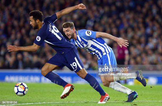 Tottenham Hotspur's Mousa Dembele and Brighton Hove Albion's Dale Stephens battle for the ball during the Premier League match at the AMEX Stadium...