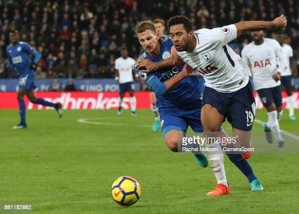 Tottenham Hotspur's Mousa Dembele and Leicester City's Marc Albrighton during the Premier League match between Leicester City and Tottenham Hotspur...