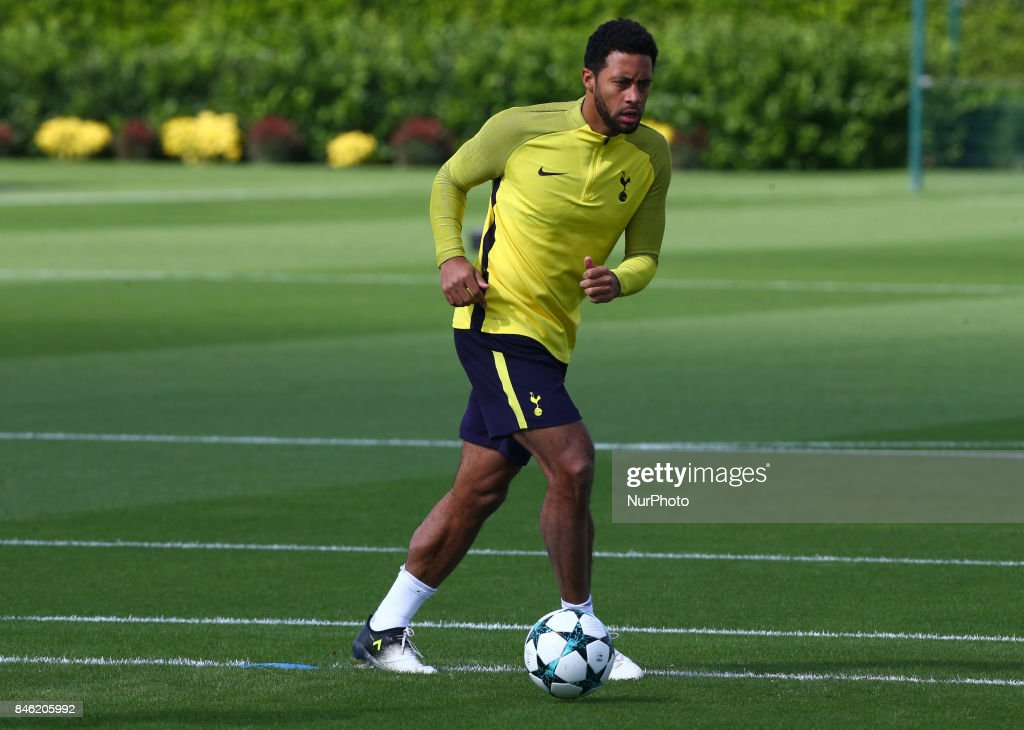 Tottenham Hotspur's Mousa Dembele during a Tottenham Hotspur training session ahead of the UEFA Champions League Group H match against Borussia Dortmund at Tottenham Hotspur Training centre on 12 Sept , 2017 in Enfield, England.