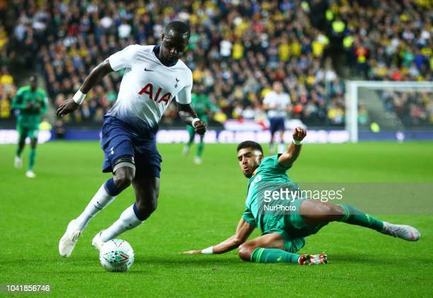 LR Tottenham Hotspur's Moussa Sissoko and Watford's Adam Masina during Carabao Cup 3rd Round match between Tottenham Hotspur and Watford at Stadium...