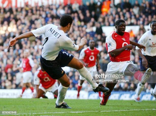 Tottenham Hotspurs' Noureddine Naybet scores against Arsenal during the Barclays Premiership match at White Hart Lane north London THIS PICTURE CAN...