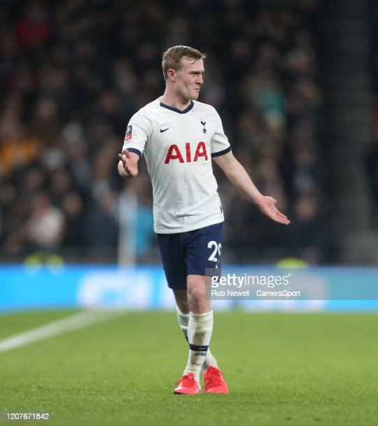 Tottenham Hotspur's Oliver Skipp during the FA Cup Fifth Round match between Tottenham Hotspur and Norwich City at Tottenham Hotspur Stadium on March...