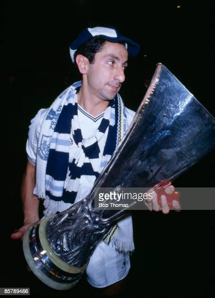 Tottenham Hotspur's Osvaldo Ardiles carrying the UEFA Cup after Spurs had beaten Anderlecht 43 on penalties in the UEFA Cup Final 2nd leg at White...