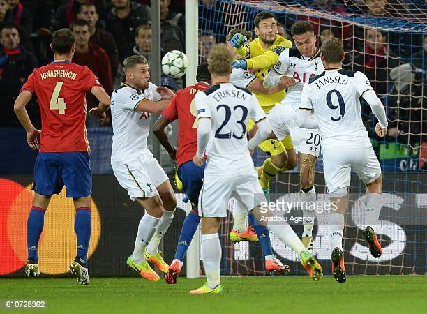 Tottenham Hotspurs' players are in action during their UEFA Champions League group E soccer match between PFC CSKA Moscow and Tottenham Hotspurs at...