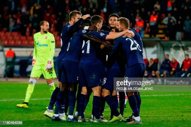 Tottenham Hotspur's players celebrate after scoring a goal during the UEFA Champions League Group B football match between Red Star Belgrade and...