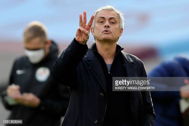 Tottenham Hotspur's Portuguese head coach Jose Mourinho gestures on the touchline during the English Premier League football match between West Ham...