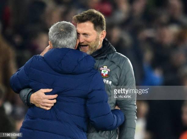 Tottenham Hotspur's Portuguese head coach Jose Mourinho hugs Southampton's Austrian manager Ralph Hasenhuttl at the final whistle during the English...