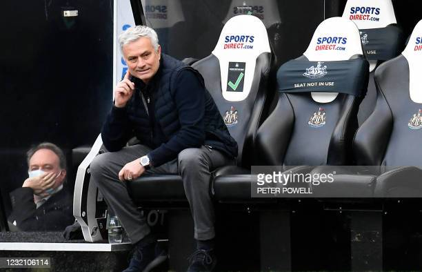 Tottenham Hotspur's Portuguese head coach Jose Mourinho looks on during the English Premier League football match between Newcastle United and...