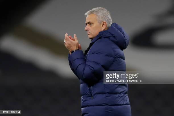 Tottenham Hotspur's Portuguese head coach Jose Mourinho react at the final whistle during the UEFA Europa League 1st round Group J football match...