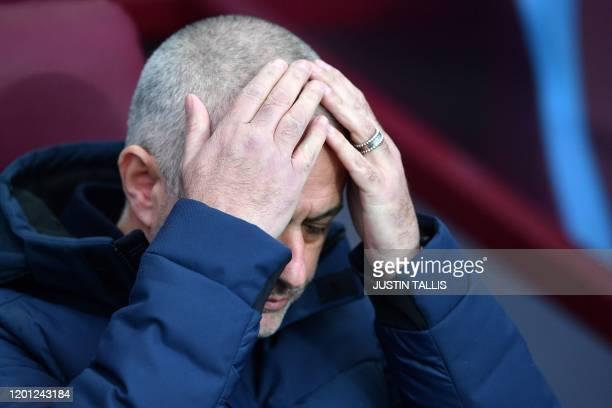 Tottenham Hotspur's Portuguese head coach Jose Mourinho reacts ahead of the English Premier League football match between Aston Villa and Tottenham...