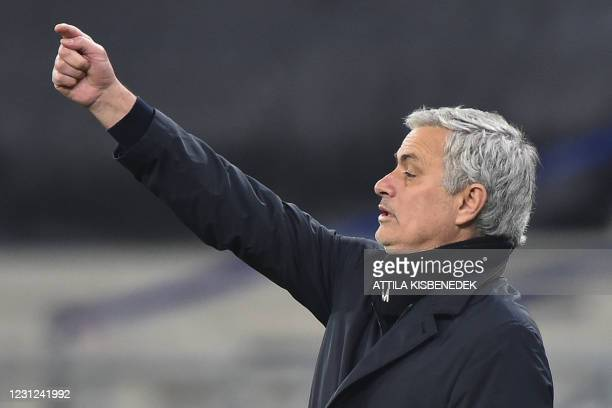 Tottenham Hotspur's Portuguese head coach Jose Mourinho reacts from the sidelines during the UEFA Europa League, last-32 first leg football match...