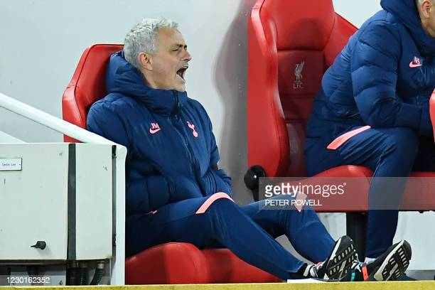 Tottenham Hotspur's Portuguese head coach Jose Mourinho shouts instructions to his players during the English Premier League football match between...