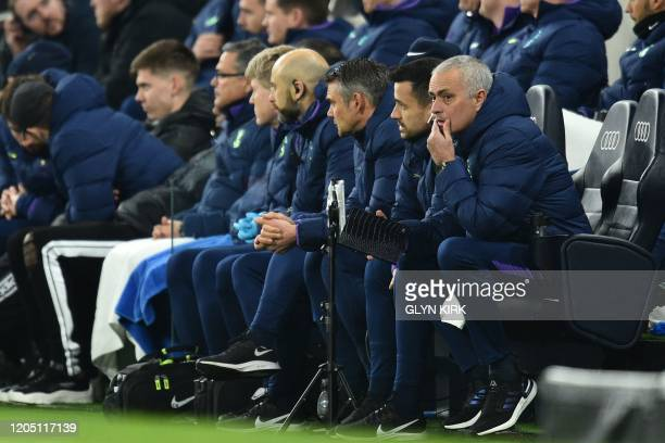 Tottenham Hotspur's Portuguese head coach Jose Mourinho watches his players from the touchline during the English FA Cup fifth round football match...