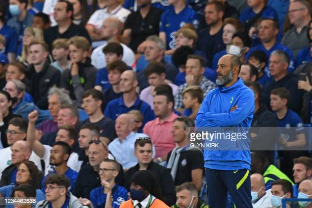 Tottenham Hotspur's Portuguese Head Coach Nuno Espirito Santo watches from the touchline during the pre-season friendly football match between...