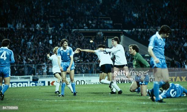 Tottenham Hotspur's Ricardo Villa celebrates with Glenn Hoddle after scoring their winning goal in the FA Cup Final Replay against Manchester City at...