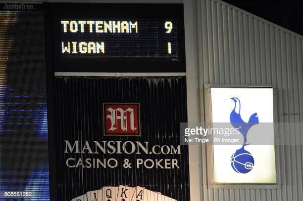Tottenham Hotspur's score board shows a final score of 91 during the Barclays Premier League match at White Hart Lane London PRESS ASSOCATION Photo...