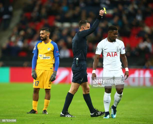 Tottenham Hotspur's Serge Aurier gets yellow card during the Champions League Group G match between Tottenham Hotspur and Apoel Nicosia at Wembley...