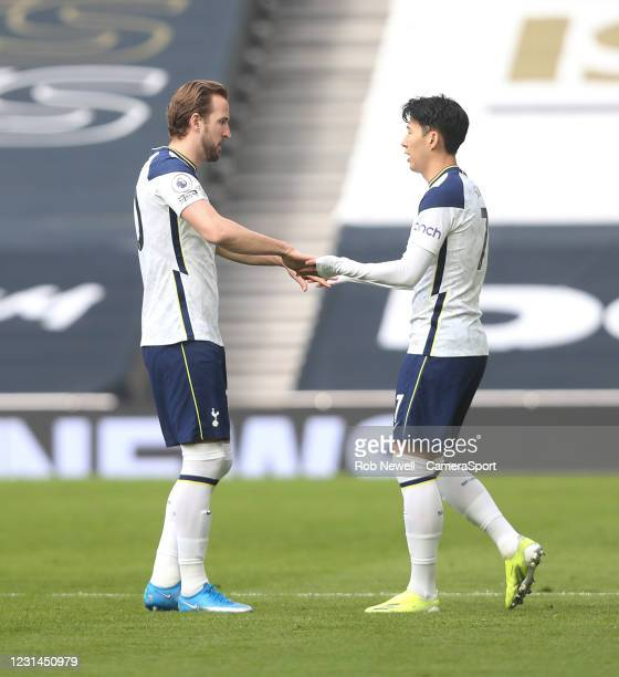 Tottenham Hotspur's Son Heung-Min and Harry Kane during the Premier League match between Tottenham Hotspur and Burnley at Tottenham Hotspur Stadium...