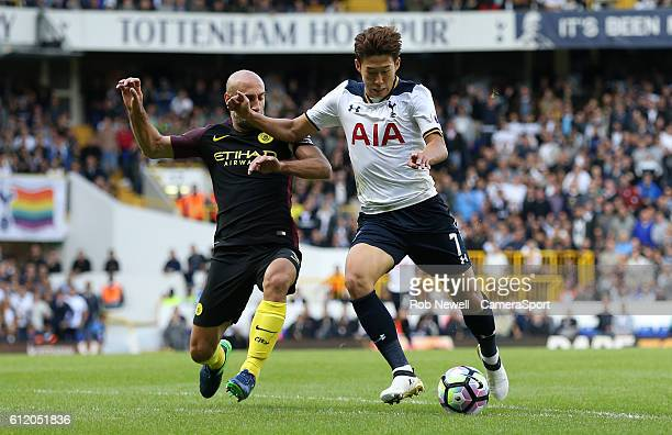 Tottenham Hotspur's Son HeungMin and Manchester City's Pablo Zabaleta during the Premier League match between Tottenham Hotspur and Manchester City...