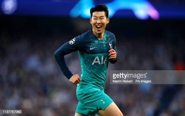Tottenham Hotspur's Son Heungmin celebrates scoring his side's second goal of the game during the UEFA Champions League quarter final second leg...