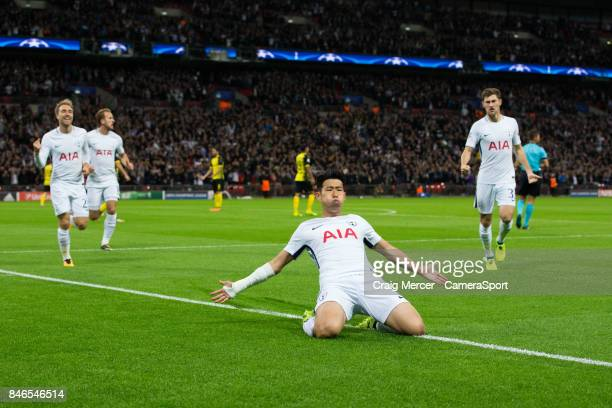 Tottenham Hotspur's Son HeungMin celebrates scoring the opening goal during the UEFA Champions League group H match between Tottenham Hotspur and...