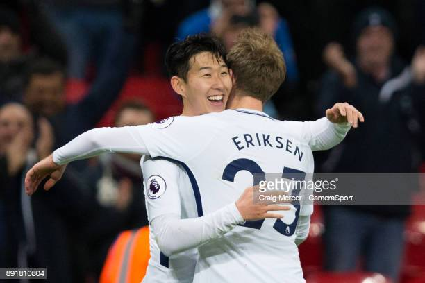 Tottenham Hotspur's Son HeungMin celebrates with team mate Christian Eriksen after scoring his side's second goal during the Premier League match...