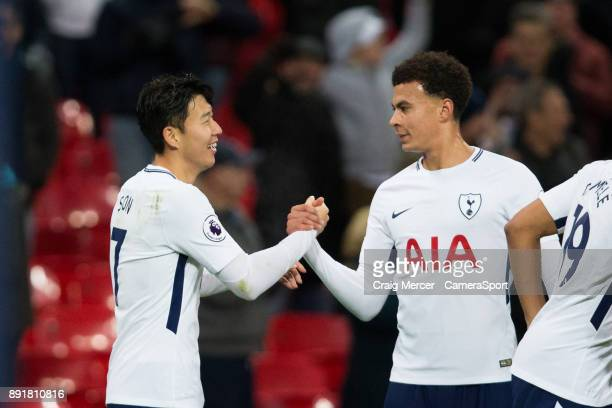 Tottenham Hotspur's Son HeungMin celebrates with team mate Dele Alli after scoring his side's second goal during the Premier League match between...