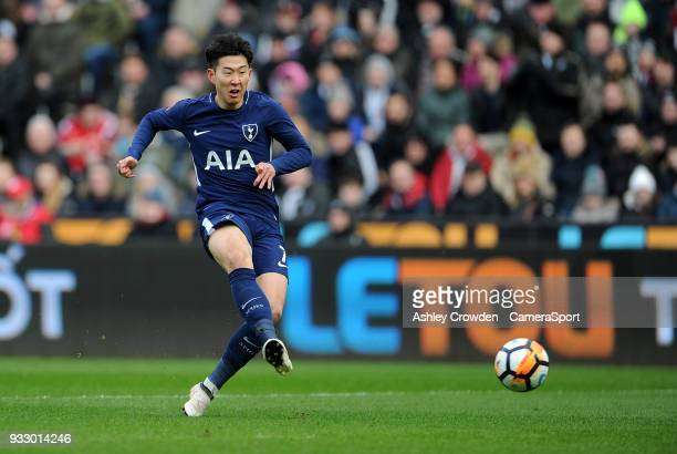 Tottenham Hotspur's Son HeungMin during the Emirates FA Cup QuarterFinal between Swansea City and Tottenham Hotspur at Liberty Stadium on March 17...