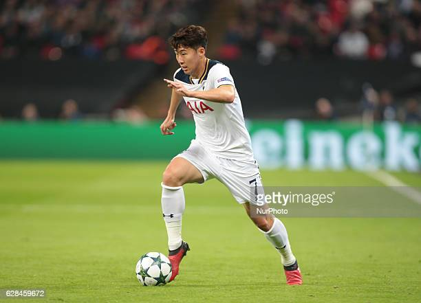 Tottenham Hotspur's Son HeungMin during UEFA Champions League Group E match between Tottenham Hotspur and CSKA Moscow at Wembley stadium 07 Dec 2016