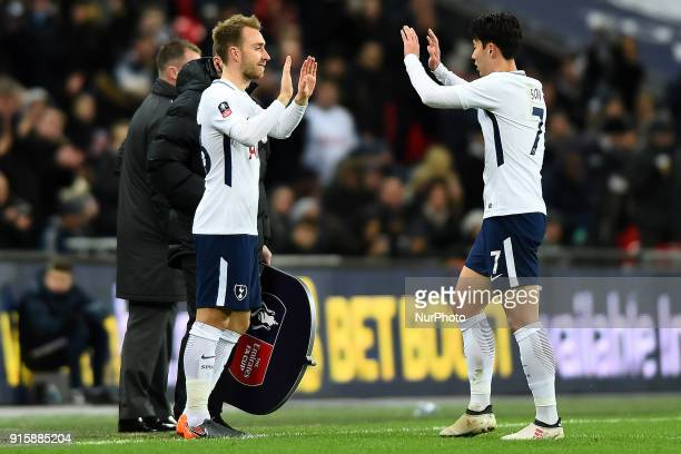 Tottenham Hotspur's Son HeungMin is substituted for Christian Eriksen during the FA Cup Fourth Round replay match between Tottenham Hotspur and...