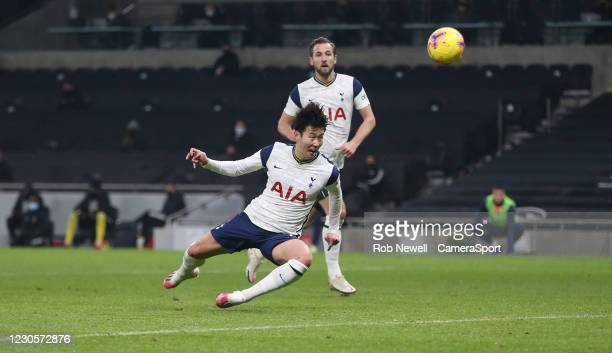 Tottenham Hotspur's Son Heung-Min with a first half header towards goal during the Premier League match between Tottenham Hotspur and Fulham at...
