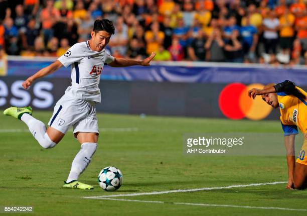 Tottenham Hotspur's South Korean striker Son Heungmin attempts a shot during the UEFA Champions League football match between Apoel FC and Tottenham...