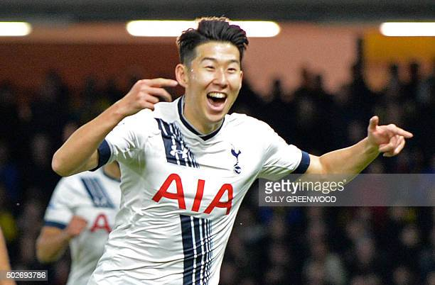 Tottenham Hotspur's South Korean striker Son HeungMin celebrates after scoring their late winning goal during the English Premier League football...