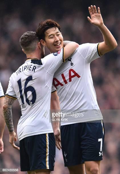 Tottenham Hotspur's South Korean striker Son HeungMin celebrates scoring his team's second goal during the English FA Cup quarterfinal football match...