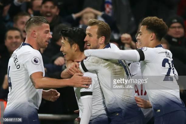 Tottenham Hotspur's South Korean striker Son HeungMin celebrates scoring their third goal during the English Premier League football match between...