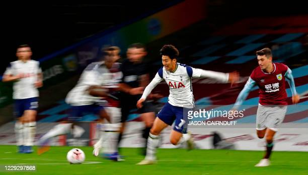 Tottenham Hotspur's South Korean striker Son HeungMin chases the ball during the English Premier League football match between Burnley and Tottenham...