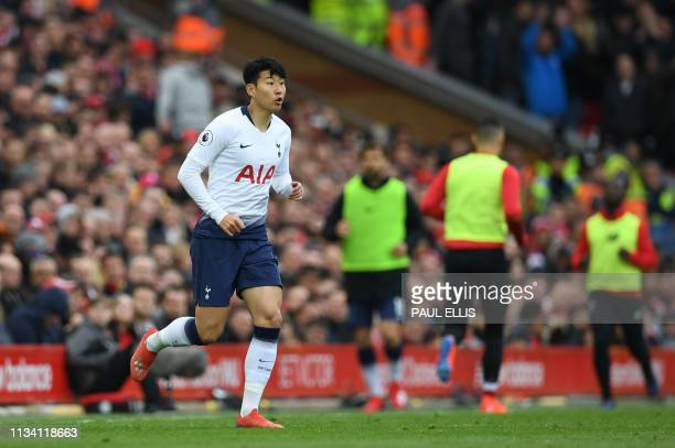 Tottenham Hotspur's South Korean striker Son HeungMin comes on as a substitute during the English Premier League football match between Liverpool and...