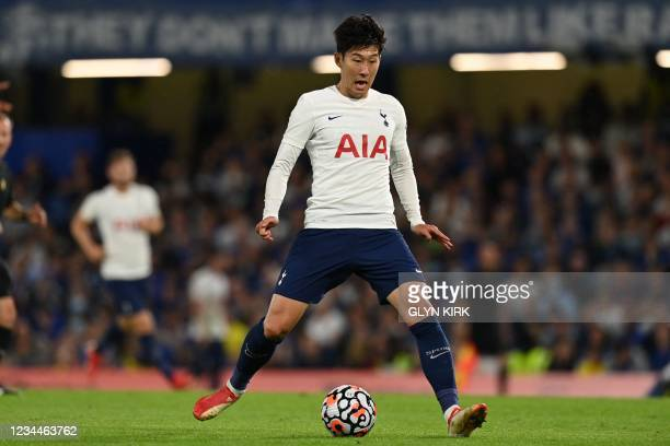 Tottenham Hotspur's South Korean striker Son Heung-Min controls the ball during the pre-season friendly football match between Chelsea and Tottenham...