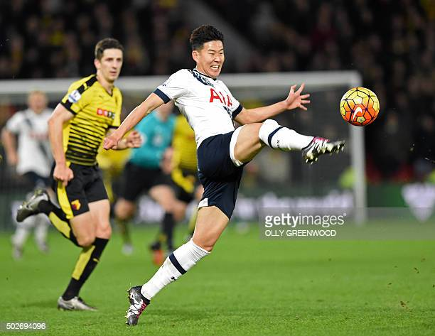 Tottenham Hotspur's South Korean striker Son HeungMin controls the ball during the English Premier League football match between Watford and...
